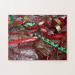 Christmas Ribbons Red Green and Gold Holiday Jigsaw Puzzle
