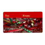 Christmas Ribbons Red Green and Gold Holiday Label
