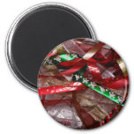 Christmas Ribbons Red Green and Gold Holiday Magnet