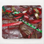 Christmas Ribbons Red Green and Gold Holiday Mouse Pad
