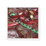 Christmas Ribbons Red Green and Gold Holiday Paper Napkin