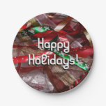 Christmas Ribbons Red Green and Gold Holiday Paper Plate