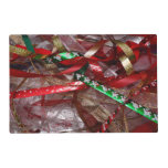 Christmas Ribbons Red Green and Gold Holiday Placemat