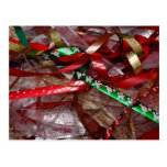 Christmas Ribbons Red Green and Gold Holiday Postcard