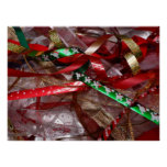 Christmas Ribbons Red Green and Gold Holiday Poster