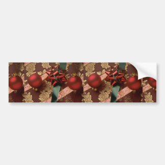 Christmas ribbons with red ornaments, green ribbon bumper sticker