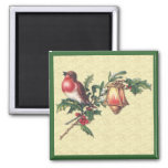 Christmas Robin 2 Inch Square Magnet