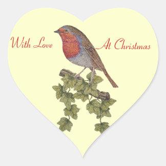 Christmas Robin and ivy leaves illustration design Heart Sticker