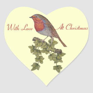 Christmas Robin and ivy leaves illustration Heart Sticker