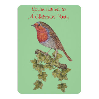 Christmas robin and ivy leaves illustration card