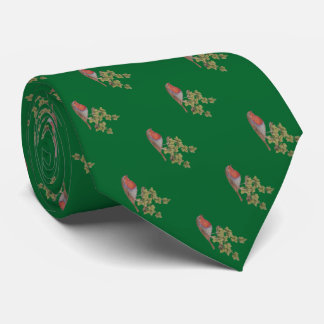Christmas robin and ivy leaves illustration tie