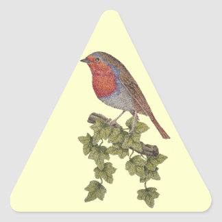 Christmas Robin and ivy leaves illustration Triangle Sticker