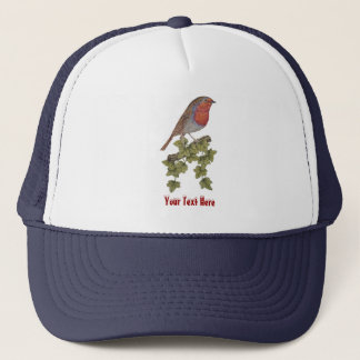Christmas Robin and ivy leaves illustration Trucker Hat