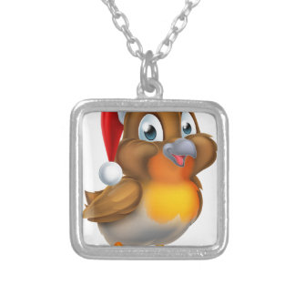 Christmas Robin Bird in Red Santa Hat Silver Plated Necklace