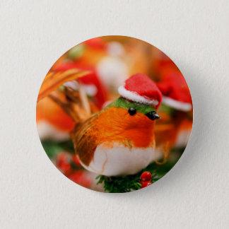 Christmas Robin Bird in Santa Hat Pinback Button