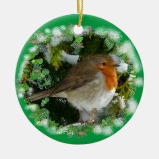 Christmas Robin Ceramic Ornament