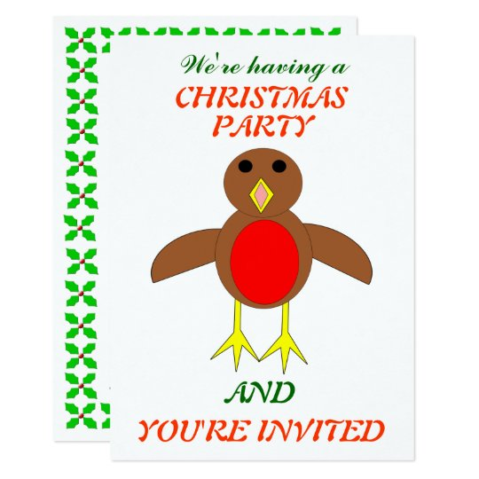 Christmas Robin Custom Party Invites