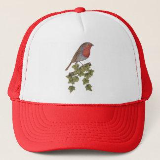 Christmas Robin ivy leaves illustration design Trucker Hat