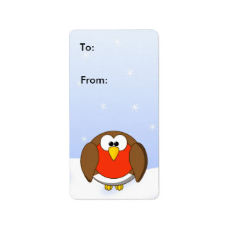 Christmas Robin Red Breast Customizable Gift Tag