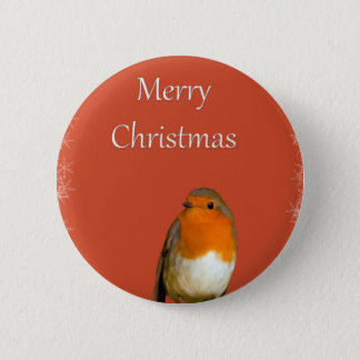 Christmas Robin Red Snowflakes Button