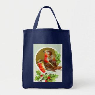 Christmas robins on holly tote bag