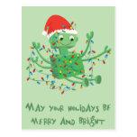 Christmas Robot Tangled Up in Lights Postcard