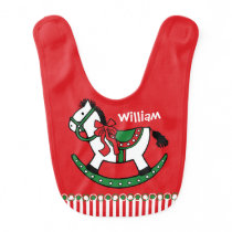 Christmas Rocking Horse Baby Bib