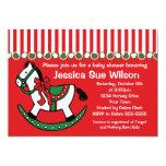 "Christmas Rocking Horse Baby Shower Invitation 5"" X 7"" Invitation Card"
