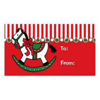 Christmas Rocking Horse Gift Tag Double-Sided Standard Business Cards (Pack Of 100)