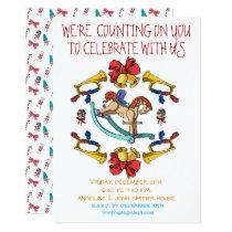 Christmas Rocking Horse Personalised Invitation