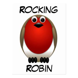 Christmas Rocking Robin Postcard