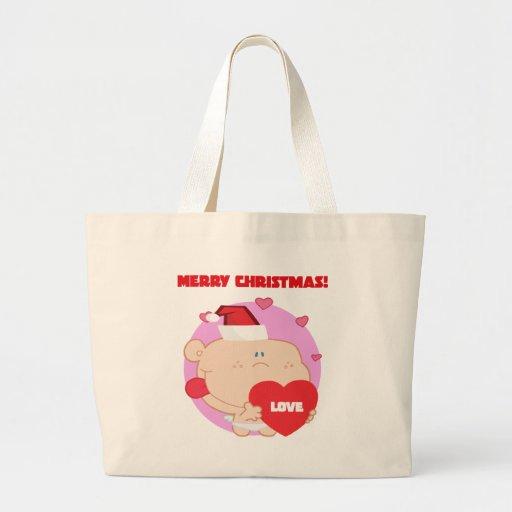 Christmas, Romantic Cupid with Heart Canvas Bag