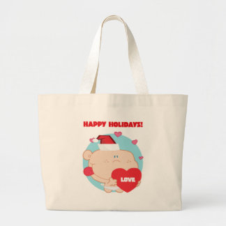 Christmas, Romantic Cupid with Heart Large Tote Bag