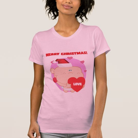 Christmas, Romantic Cupid with Heart T-Shirt