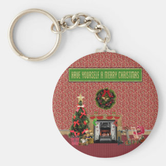 Christmas Room, Fireplace, Tree, Toys Keychain