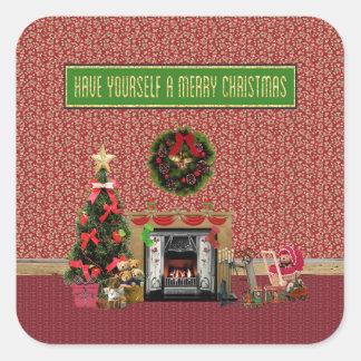 Christmas Room, Fireplace, Tree, Toys Square Sticker