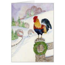 Christmas Rooster Card