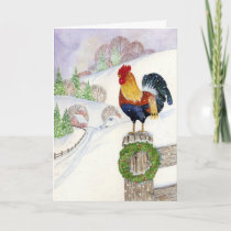 Christmas Rooster Holiday Card