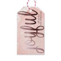 Christmas Rose Gold Joyful Gift Tags