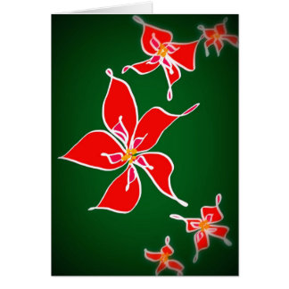 Christmas Rose - Green Background Card