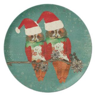 Christmas Rose Owls Plate
