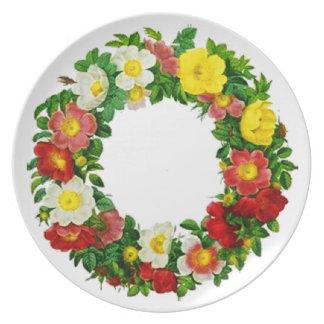 Christmas Rose Wreath by Pierre-Joseph Redouté Party Plates