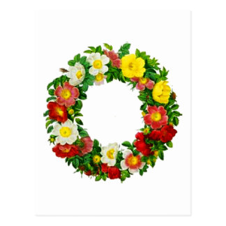 Christmas Rose Wreath by Pierre-Joseph Redouté Postcard