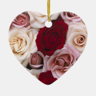 Christmas roses ceramic ornament