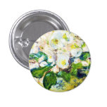 Christmas Roses Claude Monet flowers floral paint 1 Inch Round Button