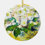 Christmas Roses Claude Monet flowers floral paint Double-Sided Ceramic Round Christmas Ornament