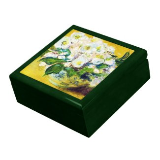 Christmas Roses Claude Monet flowers floral paint Trinket Box