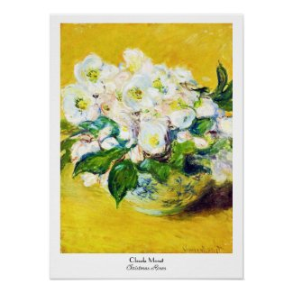 Christmas Roses Claude Monet flowers floral paint Print