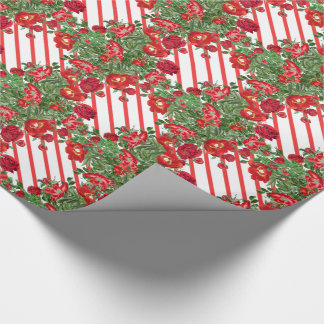 Christmas Roses Peony Flowers Wrapping Paper