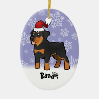 Christmas Rottweiler (add your pets name) Ornaments